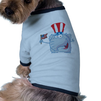 Patriotic Elephant Waving An American Flag Dog Tee