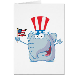 Patriotic Elephant Waving An American Flag Greeting Card
