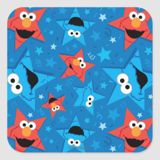 Patriotic Elmo and Cookie Monster Pattern Square Sticker
