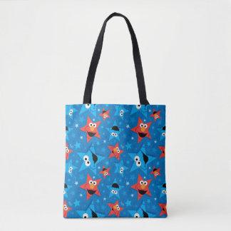 Patriotic Elmo and Cookie Monster Pattern Tote Bag