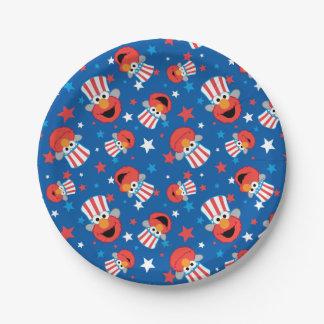Patriotic Elmo Pattern Paper Plate