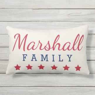 Patriotic Family Monogram with Stars Lumbar Cushion