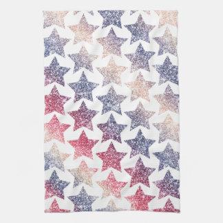 Patriotic Faux Glitter Stars Kitchen Towels