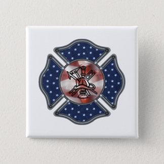 Patriotic Firefighter Maltese 15 Cm Square Badge
