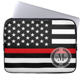 Patriotic Firefighter Style American Flag Laptop Sleeve