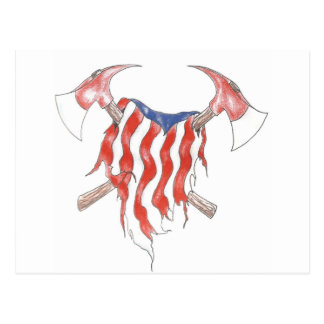 patriotic fireman postcard