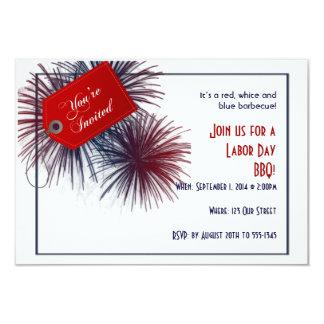 Patriotic Fireworks for Labor Day 9 Cm X 13 Cm Invitation Card