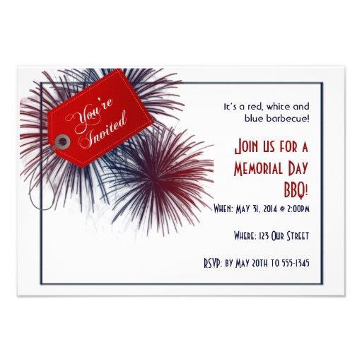 Patriotic Fireworks for Memorial Day Custom Invitations