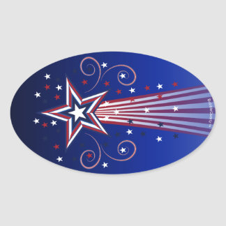 Patriotic fireworks large oval stickers