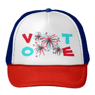 Patriotic Fireworks Red Blue VOTE Election Day Hat