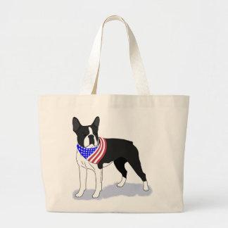Patriotic Flag Bandana Boston Terrier Canvas Bag