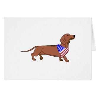 Patriotic Flag Bandana Dachshund Greeting Card