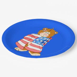 Patriotic Flag Bear Paper Plate
