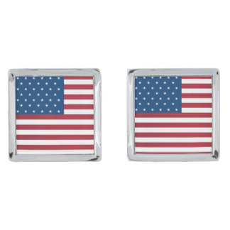 Patriotic Flag Cufflinks Silver Finish Cuff Links
