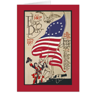 Patriotic Flag Day Card, Vintage Flag Day Poster Greeting Card