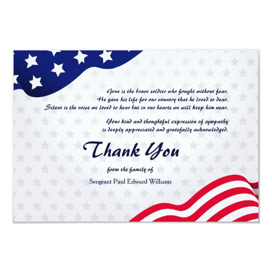 Patriotic Flag Funeral Thank You Card