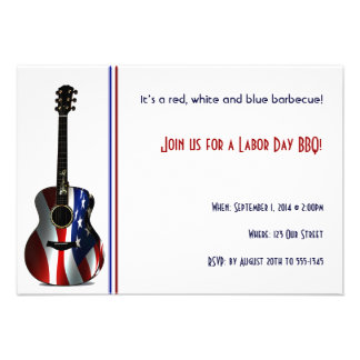 Patriotic Flag Guitar Labor Day Party Invitation
