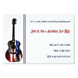 Patriotic Flag Guitar Memorial Day 9 Cm X 13 Cm Invitation Card