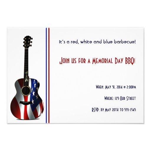 Patriotic Flag Guitar Memorial Day Personalized Invitation
