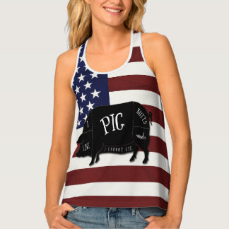 Patriotic Flag I Like Pig Butts and I Cannot Lie Singlet