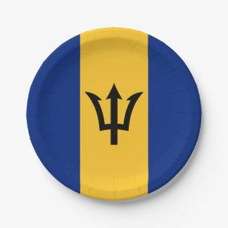 Patriotic Flag of Barbados Paper Plate