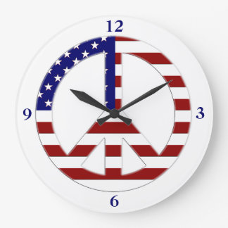Patriotic Flag Peace Sign clock