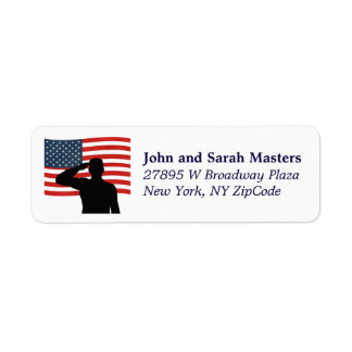 Patriotic Flag Salute Return Address Label