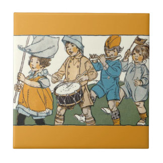 Patriotic Flags Independence Day Parade Small Square Tile