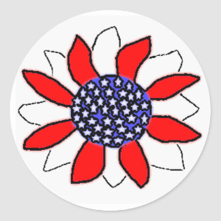 Patriotic Flower Classic Round Sticker