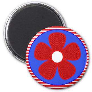 patriotic flower 6 cm round magnet