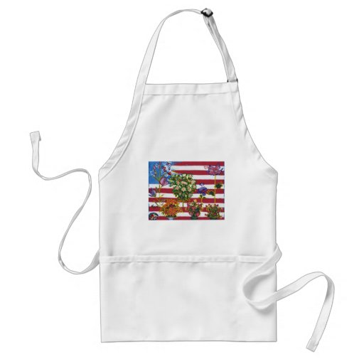 Patriotic Flowers and  Flag Apron