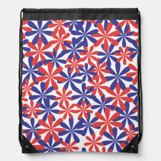 Patriotic Flowers Drawstring Backpacks