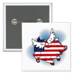 Patriotic Flying Pig(s) - July 4 - 4th of July Button