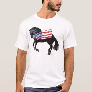 Patriotic Friesian Horse Flag T-Shirt