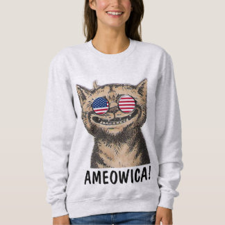 Patriotic funny Cat T-shirts, AMEOWICA! Sweatshirt