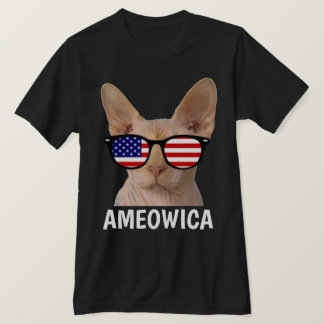 Patriotic funny Cat T-shirts, Sphynx, AMEOWICA T-Shirt