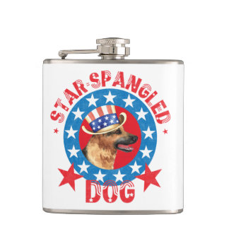 Patriotic German Shepherd Hip Flask