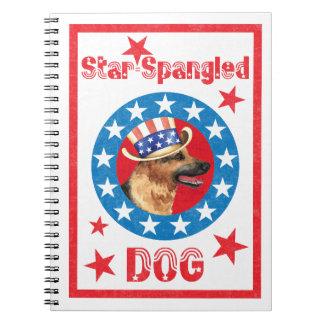 Patriotic German Shepherd Spiral Note Book