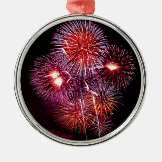 Patriotic Gifts Fireworks from the 4th of July Silver-Colored Round Decoration