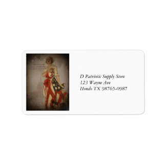 Patriotic Girl Draped in Flag Label