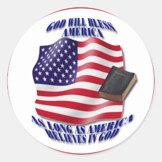 Patriotic-GodBlessAmerica.png Round Sticker