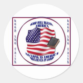 Patriotic-GodBlessAmerica png Round Sticker