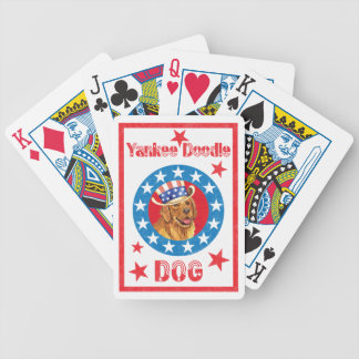 Patriotic Golden Retriever Bicycle Playing Cards
