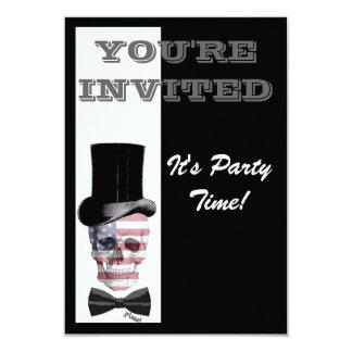 Patriotic Gothic Steampunk skull Custom Invite