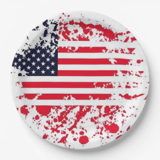 Patriotic Griller July 4th Party Paper Plates 9 Inch Paper Plate