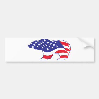 Patriotic Grizzly Bear Bumper Sticker