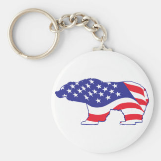 Patriotic-Grizzly Key Ring