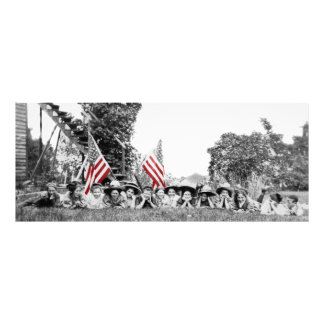 Patriotic Group Women American Flag Circa 1910 Photo Print
