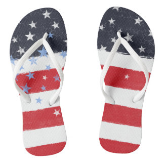 Patriotic Grunge Stars and Stripes Thongs