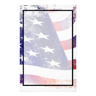 Patriotic Grunge Style Faded American Flag Personalized Stationery